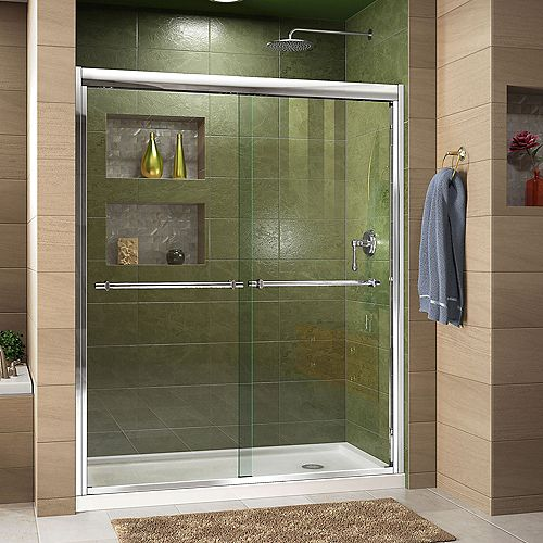 Duet 32-inch D x 60-inch W x 74.75-inch H Framed Sliding Shower Door in Chrome with Right Drain White Acrylic Base