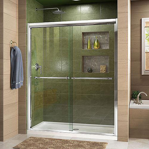 Duet 34-inch D x 60-inch W x 74.75-inch H Framed Sliding Shower Door in Chrome with Center Drain White Acrylic Base