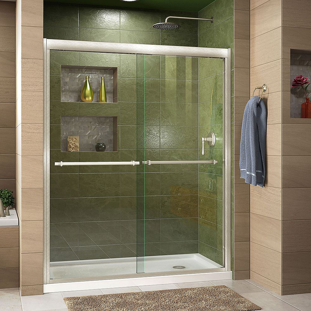 DreamLine Duet 34-inch D x 60-inch W x 74.75-inch H Framed Sliding Shower Door in Brushed Nickel with Right Drain White Acrylic Base