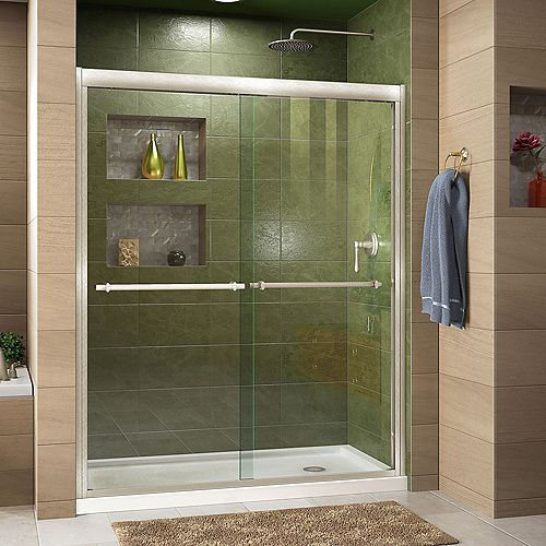 Duet 34-inch D x 60-inch W x 74.75-inch H Framed Sliding Shower Door in Brushed Nickel with Right Drain White Acrylic Base