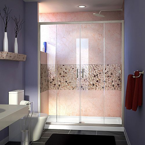 DreamLine Visions 60-inch x 30-inch x 74.75-inch Framed Sliding Shower Door in Brushed Nickel with Center Drain White Acrylic Base