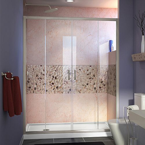 Visions 60-inch x 32-inch x 74.75-inch Framed Sliding Shower Door in Brushed Nickel with Left Drain White Acrylic Base