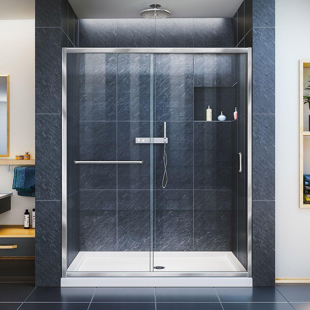 DreamLine Infinity-Z 30-inch x 60-inch x 74.75-inch Framed Sliding Shower Door in Chrome with Center Drain White Acrylic Base