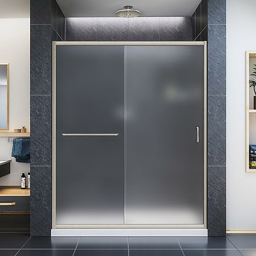 Infinity-Z 30-inch x 60-inch x 74.75-inch Framed Sliding Shower Door in Brushed Nickel with Center Drain White Acrylic Base