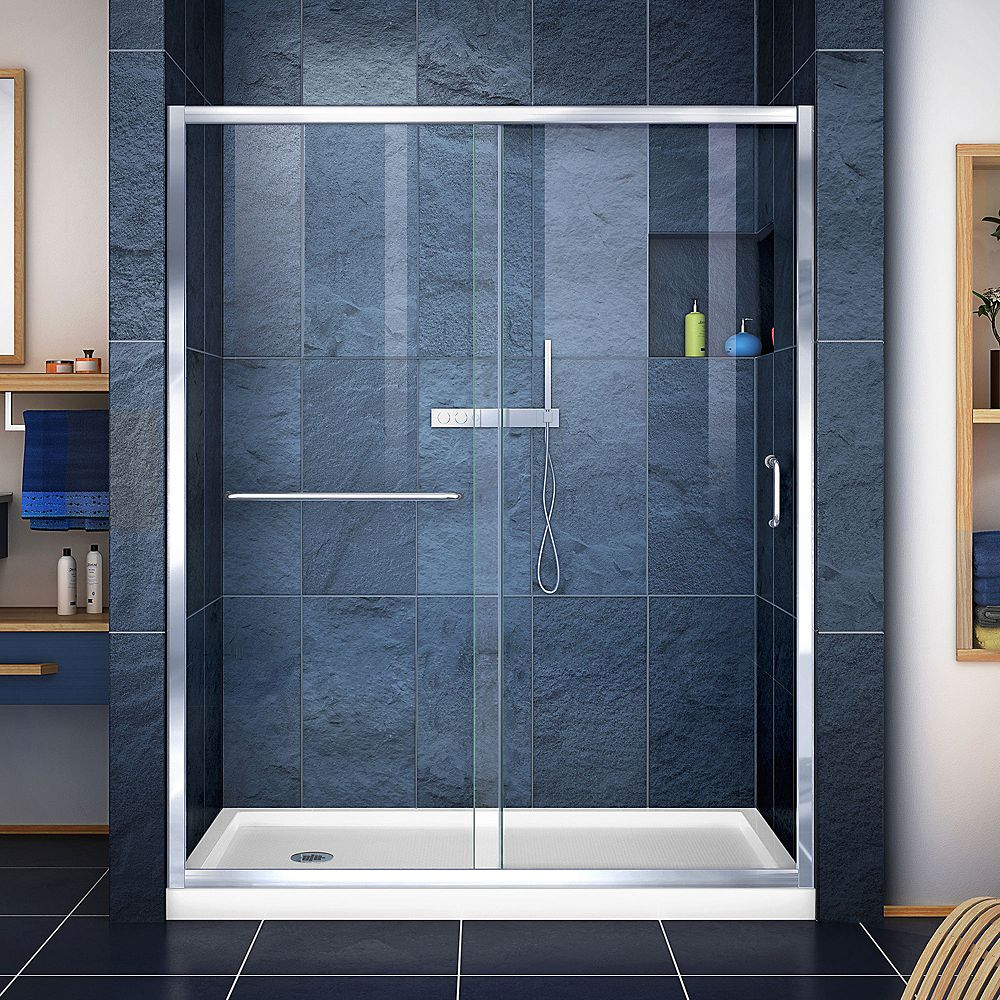 DreamLine Infinity-Z 30-inch x 60-inch x 74.75-inch Framed Sliding Shower Door in Chrome with Left Drain White Acrylic Base