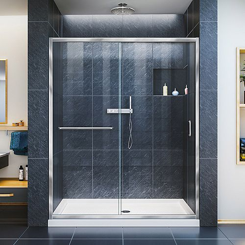Infinity-Z 32-inch x 60-inch x 74.75-inch Framed Sliding Shower Door in Chrome with Center Drain White Acrylic Base