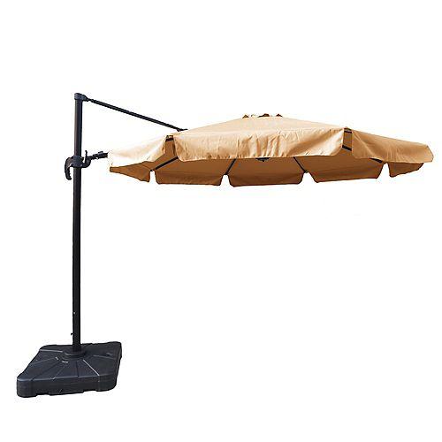 Island Umbrella Freeport 11 ft. Octagonal Cantilever with Valance Sunbrella Acrylic Patio Umbrella in Stone
