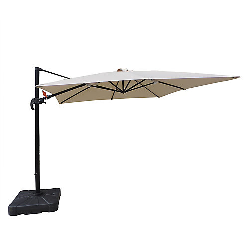 Santorini II parasol en porte-à-faux carré de 3 m (10 pi) en acrylique Sunbrella beige