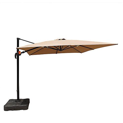 Santorini II 10 ft. Square Cantilever Sunbrella Acrylic Patio Umbrella in Stone