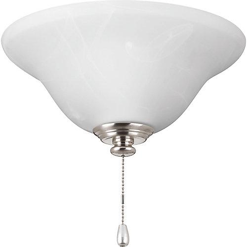 Collection AirPro – Lumière de ventilateur de plafond à une ampoule à DEL, nickel brossé