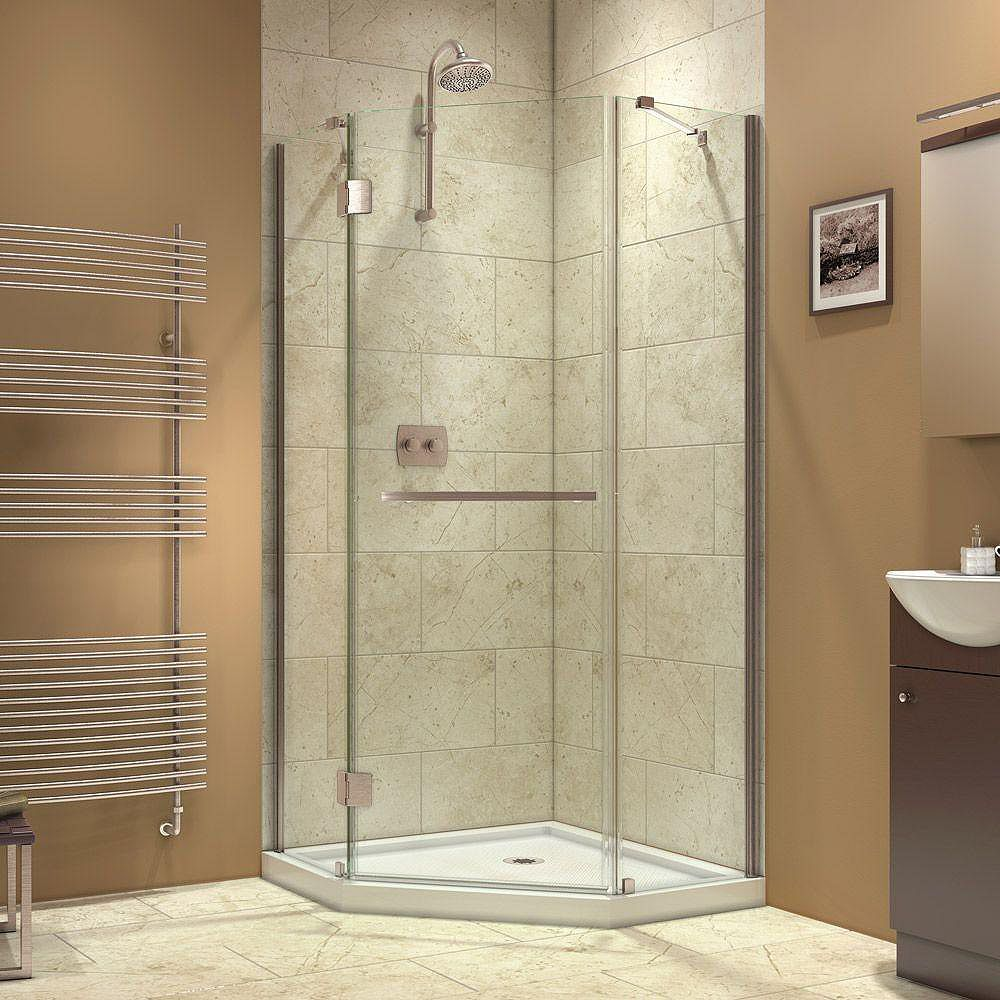 DreamLine Prism-X 36-3/8  Inch  X 36-3/8  Inch  X 72  Inch  Semi-Framed Hinged Shower Enclosure In Brushed Nickel