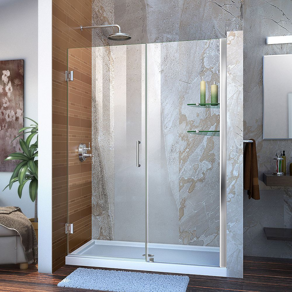 DreamLine Unidoor 53 to 54-inch x 72-inch Frameless Hinged Pivot Shower Door in Chrome with Handle