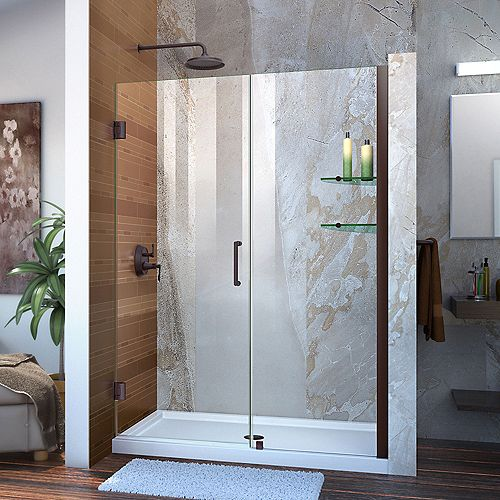 DreamLine Unidoor 53 to 54-inch x 72-inch Frameless Hinged Pivot Shower Door in Oil Rubbed Bronze with Handle