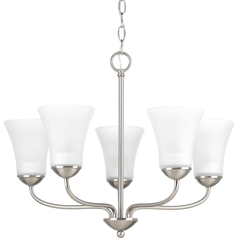 Progress Lighting Collection Cherish  Lustre à cinq ampoules, nickel brossé