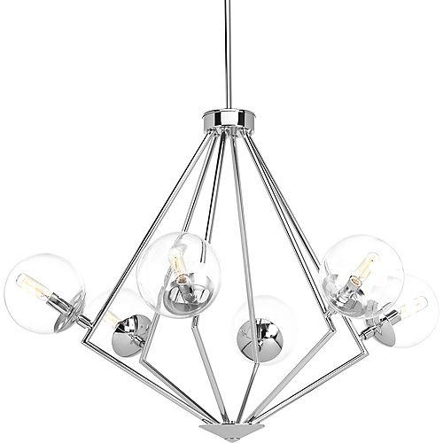 Collection Mod  Lustre à six ampoules, chrome poli