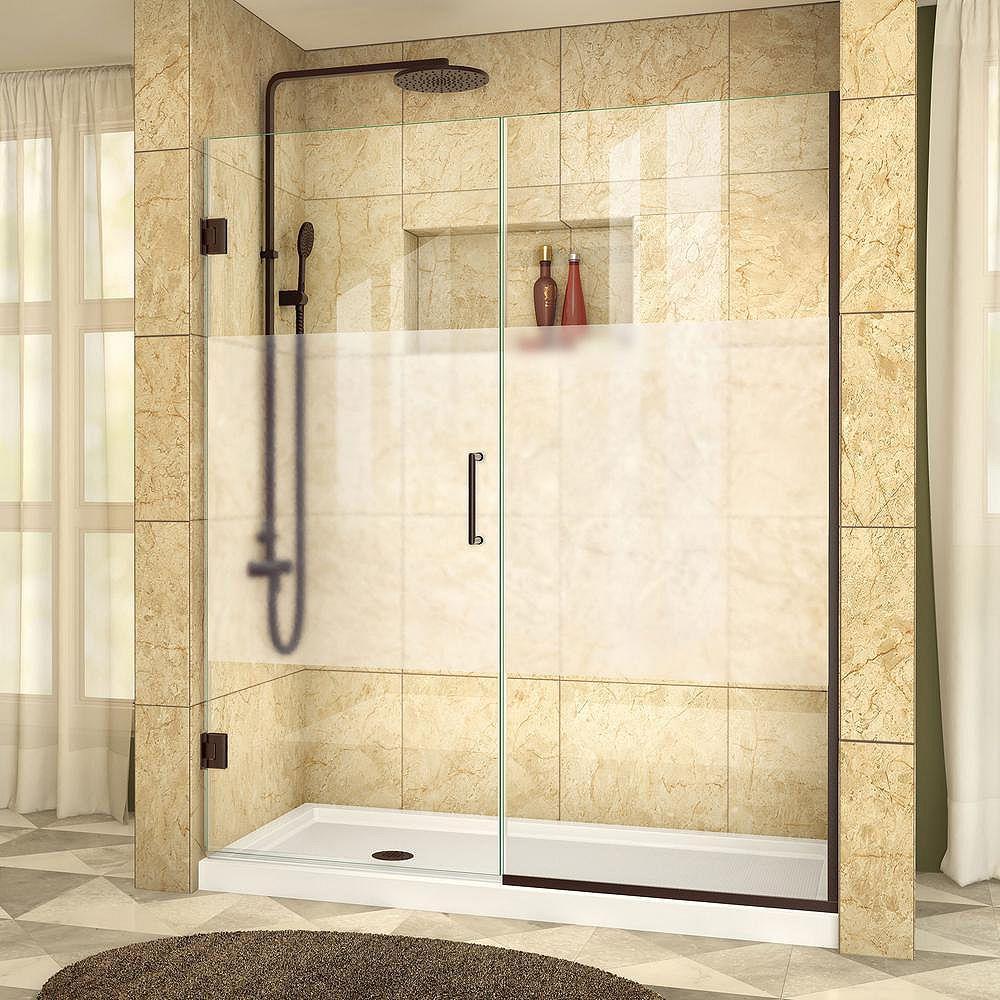 DreamLine DreamLine Unidoor Plus 154 x 183 cm Porte de douche Sans cadre, fini Bronze Huilé, Verre demi-givré
