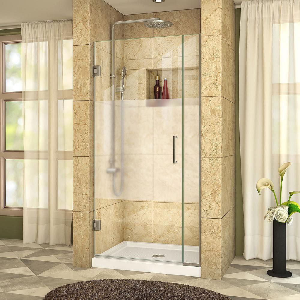 DreamLine Unidoor Plus 33 to 33-1/2-inch x 72-inch Semi-Frameless Hinged Shower Door with Half Frosted Glass in Brushed Nickel