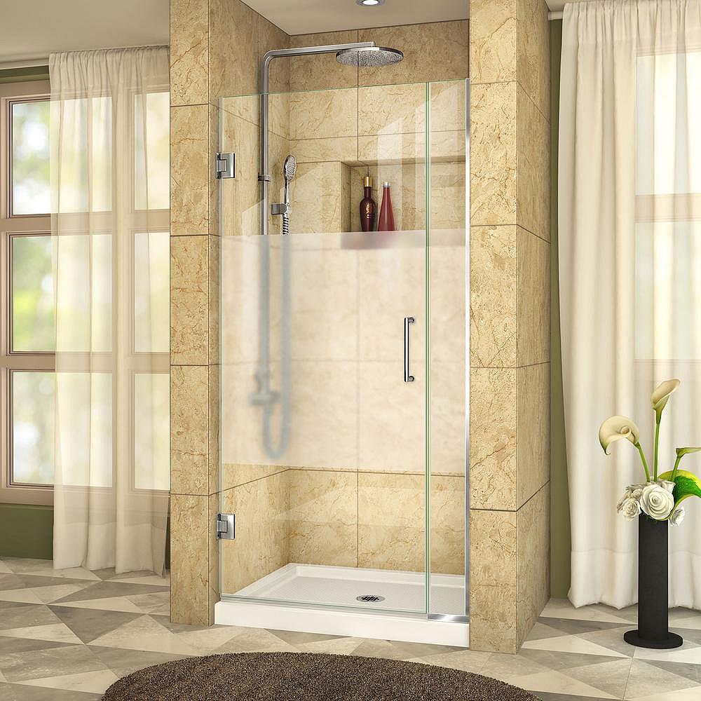 DreamLine DreamLine Unidoor Plus 86 x 183 cm Porte de douche Articulée Sans cadre, Chrome, Verre demi-givré