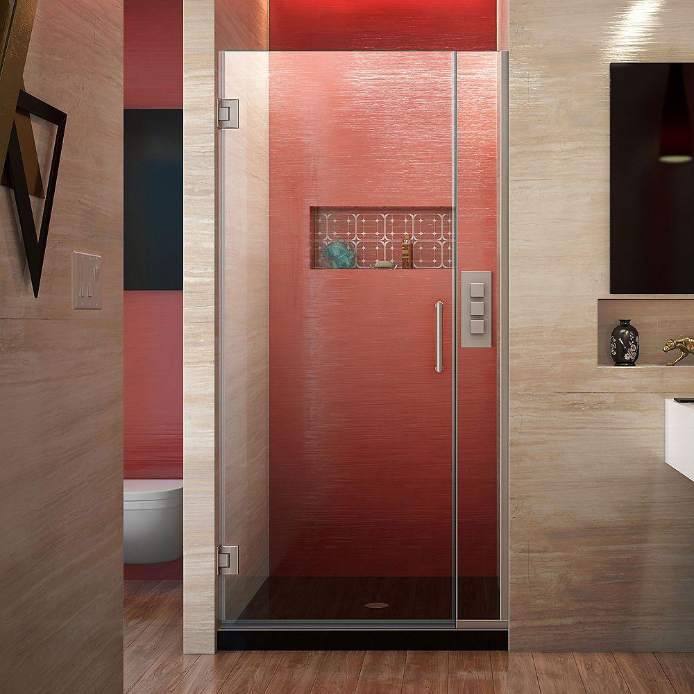 DreamLine Unidoor Plus 36-inch to 36-1/2-inch x 72-inch Hinge Shower Door in Brushed Nickel