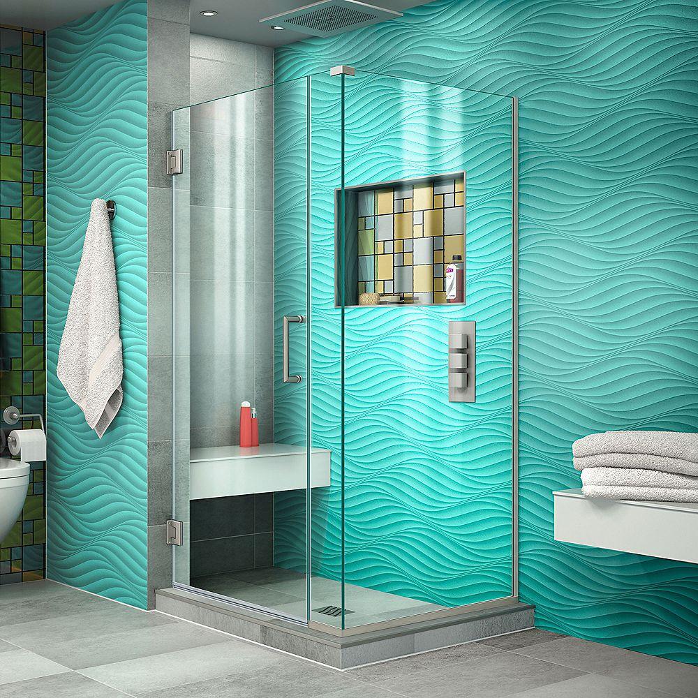 DreamLine Unidoor Plus 31-1/2-inch x 34-3/8-inch x 72-inch Semi-Frameless Hinged Shower Enclosure in Brushed Nickel