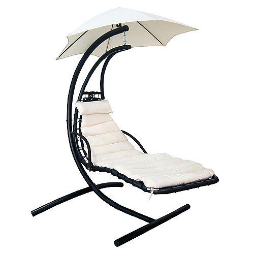 Chaise suspendue Island Retreat avec canopée pour l'ombre en toile beige