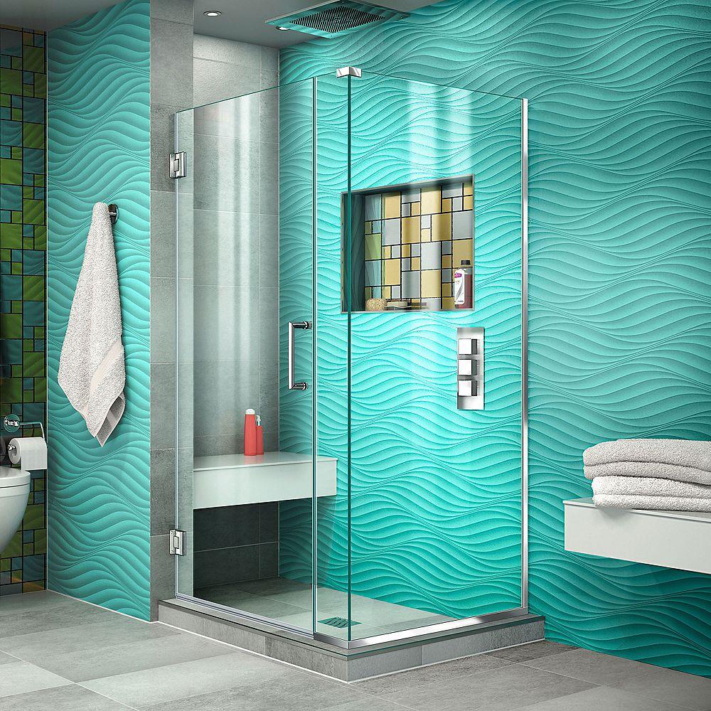 DreamLine Unidoor Plus 35 inch W x 30 3/8 inch D x 72 inch H Shower Enclosure Chrome