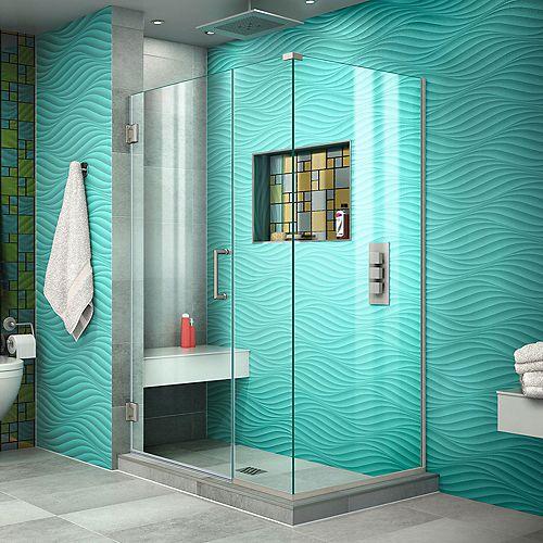 DreamLine Unidoor Plus 34-3/8-inch x 44-inch x 72-inch Semi-Frameless Hinged Shower Door Enclosure in Brushed Nickel