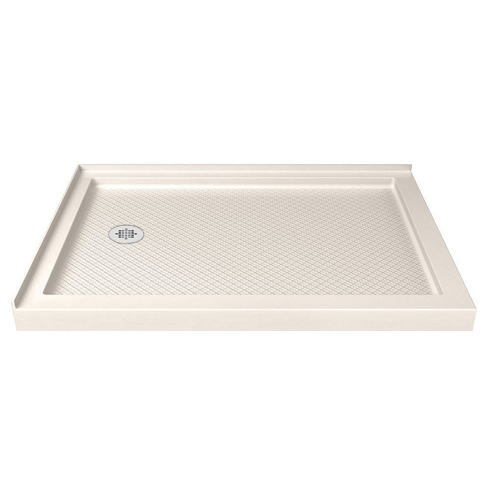 DreamLine SlimLine 36-inch x 60-inch Double Threshold Shower Base in Biscuit with Left Drain