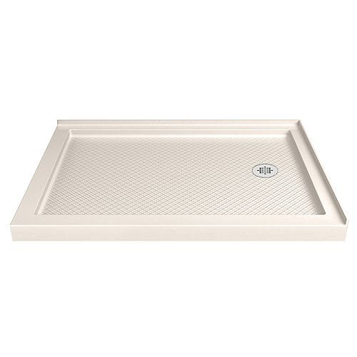 DreamLine SlimLine 36-inch x 48-inch Double Threshold Shower Base in Biscuit with Right Hand Drain