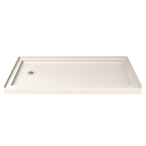 DreamLine SlimLine 30-inch x 60-inch Single Threshold Shower Base in Biscuit with Left Hand Drain