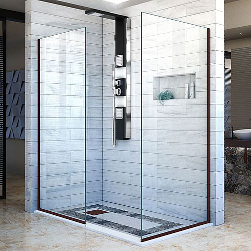 Linea 30-inch x 72-inch and 30-inch x 72-inch Semi-Frameless Shower Door in Oil Rubbed Bronze