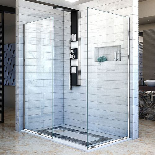 DreamLine Linea 34-inch x 72-inch and 30-inch x 72-inch Semi-Frameless Shower Door in Chrome
