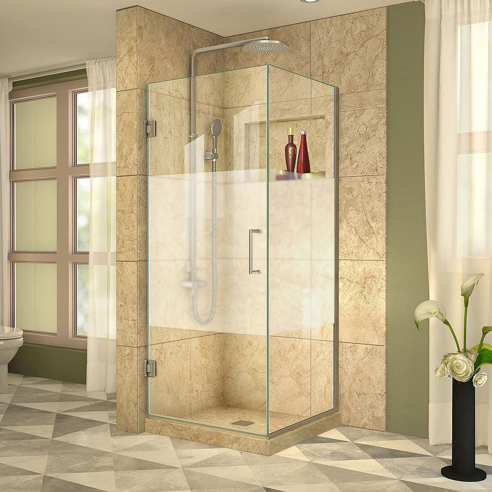 DreamLine Unidoor Plus 30-3/8-inch x 33-inch x 72-inch Hinged Shower Enclosure with Half Frosted Glass Door in Brushed Nickel