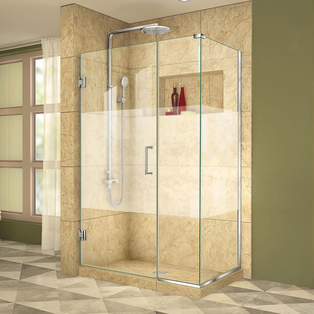 DreamLine Unidoor Plus 34-3/8-inch x 37-inch x 72-inch Hinged Shower Enclosure with Half Frosted Glass Door in Chrome