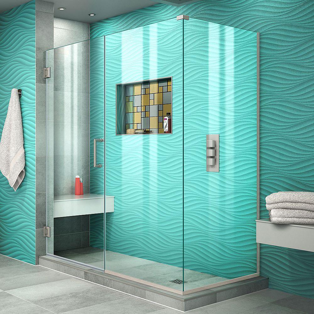 DreamLine Unidoor Plus 57 inch W x 34 3/8 inch D x 72 inch H Shower Enclosure Brushed Nickel