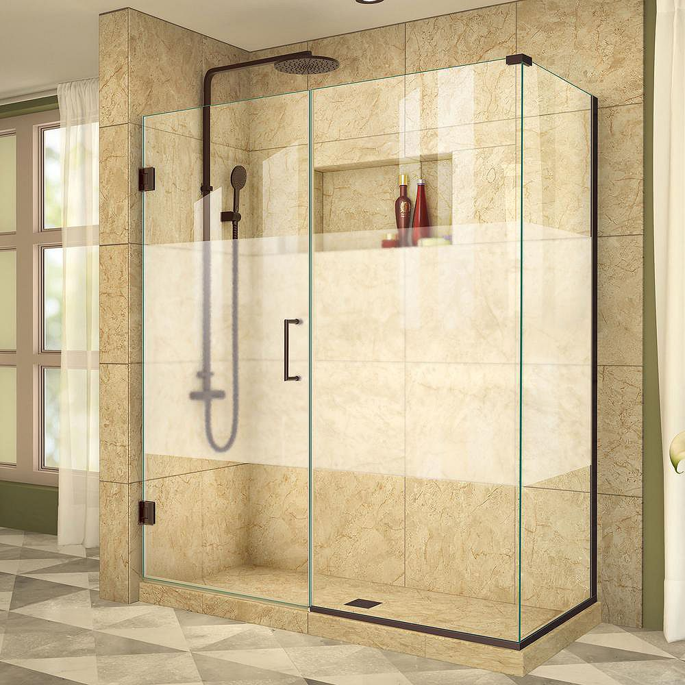 DreamLine Unidoor Plus 34-3/8-inch x 57-inch x 72-inch Hinge Shower Enclosure with Half Frosted Glass Door in Oil Rubbed Bronze