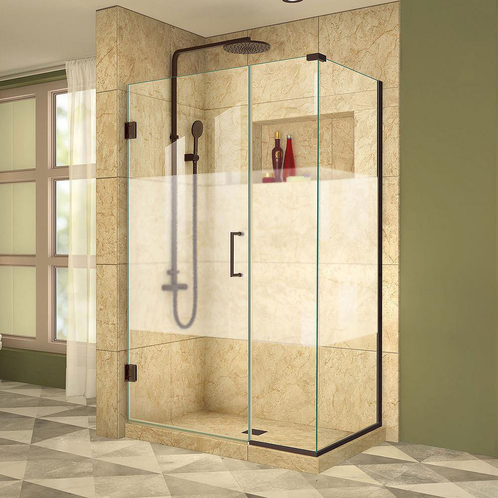DreamLine Unidoor Plus 34-3/8-inch x 44-1/2-inch x 72-inch Hinged Shower Enclosure with Half Frosted Glass Door in Oil Rubbed Bronze