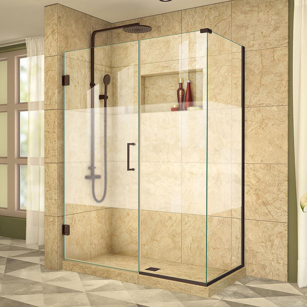 DreamLine Unidoor Plus 30-3/8-inch x 45-inch x 72-inch Hinged Shower Enclosure with Half Frosted Glass Door in Oil Rubbed Bronze