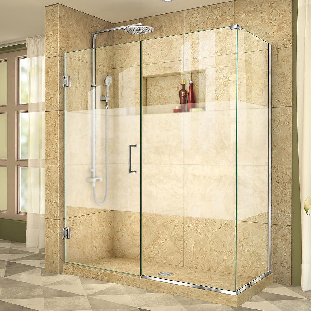 DreamLine Unidoor Plus 60-1/2-inch x 30-3/8-inch x 72-inch Semi-Frameless Hinged Shower Enclosure in Chrome