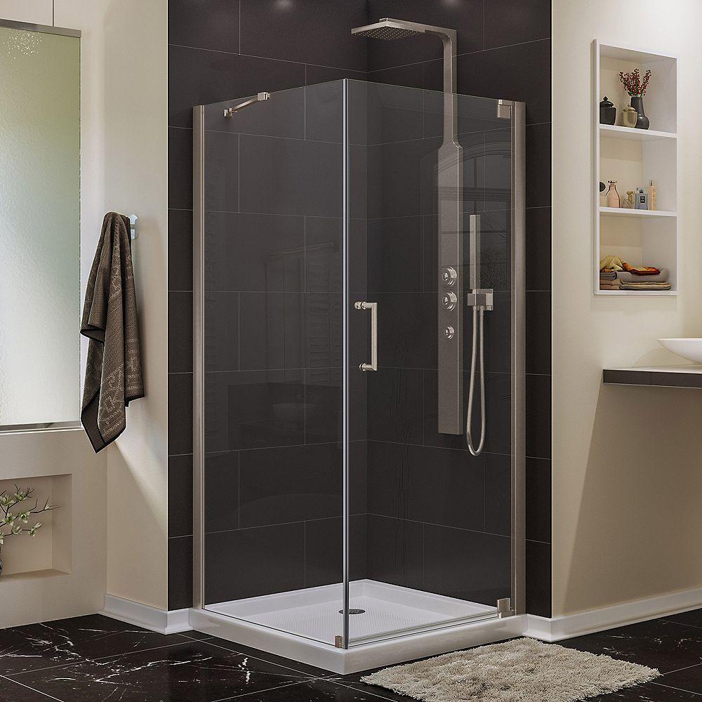 DreamLine Elegance 34-inch W x 30-inch D x 72-inch H Semi-Frameless Pivot Shower Enclosure in Brushed Nickel