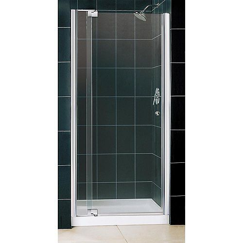Allure 36-inch x 36-inch x 75.75-inch Semi-Frameless Pivot Shower Door in Chrome with Center Drain White Acrylic Base