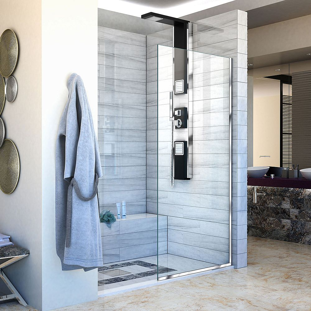 DreamLine Linea 34-inch x 72-inch Semi-Frameless Fixed Shower Door in Chrome