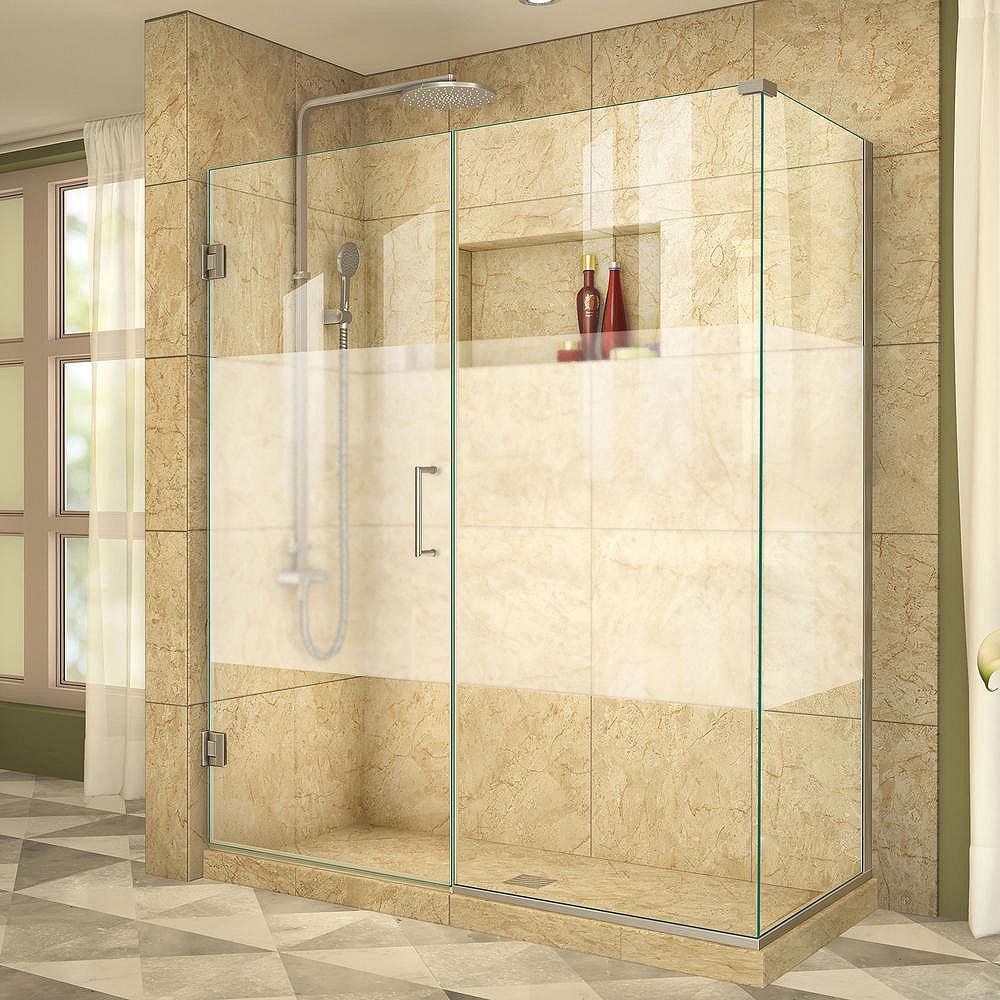 DreamLine Unidoor Plus 30-3/8-inch x 53-inch x 72-inch Hinged Shower Enclosure with Half Frosted Glass Door in Brushed Nickel