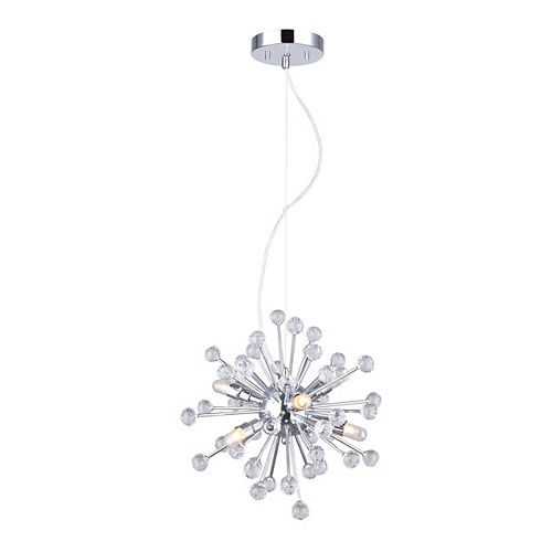 Canarm Clancy 6-Light Chrome/Crystal Chandelier (Bulbs Included)