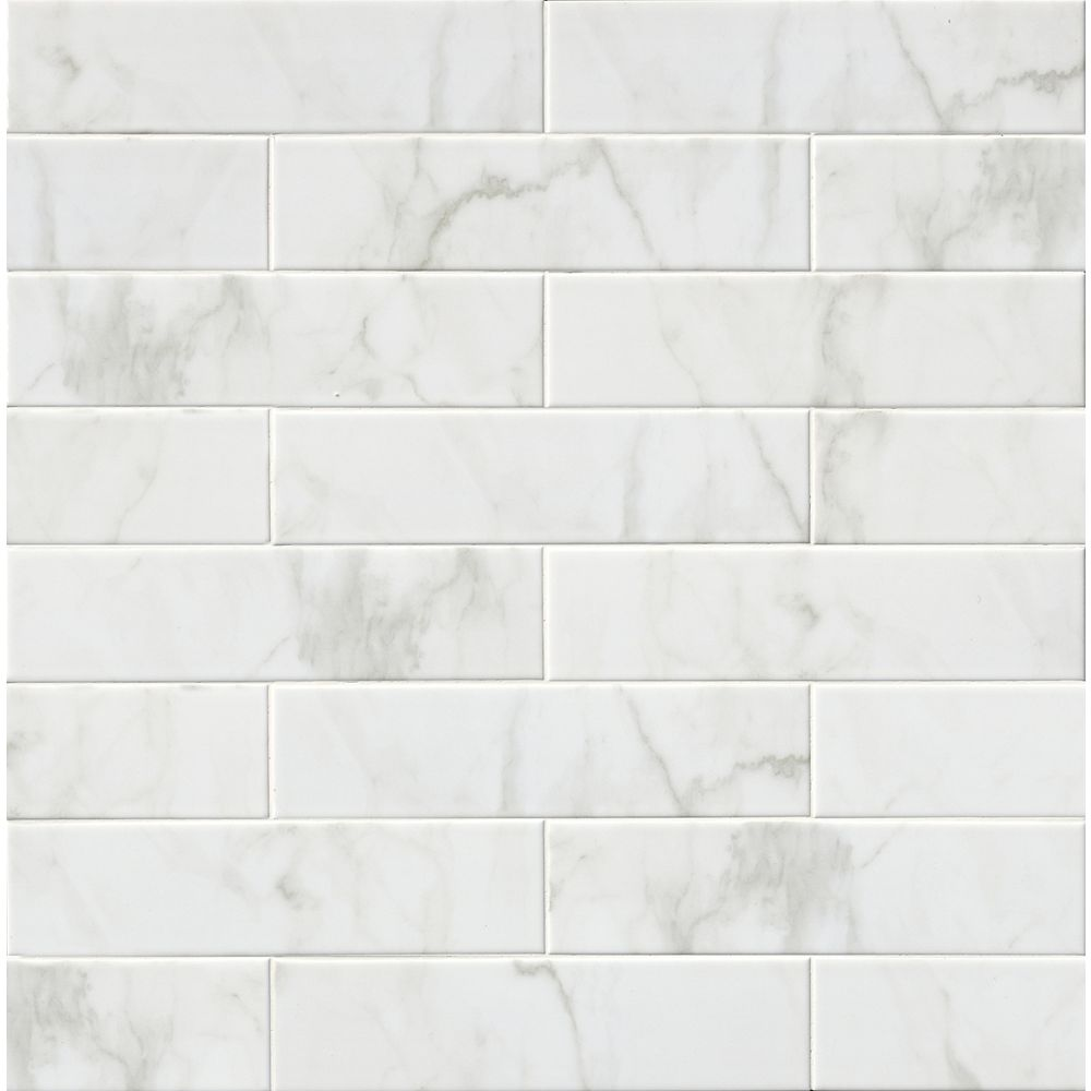 MSI Stone ULC Carreaux de céramique pour murs Classique White Carrara Glossy de 4 po x 16 po (11,11 pi ca/boîte)