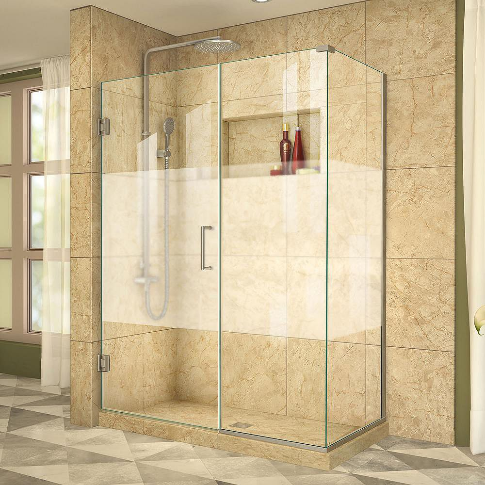 DreamLine Unidoor Plus 34-3/8-inch x 47-1/2-inch x 72-inch Hinge Shower Enclosure with Half Frosted Glass Door in Brushed Nickel