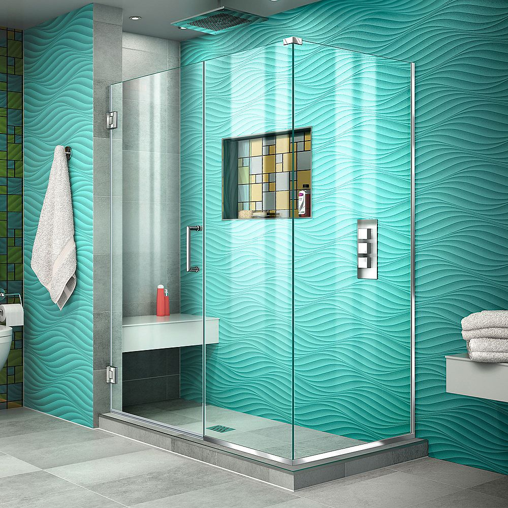 DreamLine Unidoor Plus 30-3/8-inch x 48-inch x 72-inch Hinged Shower Enclosure in Chrome
