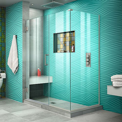 DreamLine Unidoor Plus 48 1/2 inch W x 30 3/8 inch D x 72 inch H Shower Enclosure Brushed Nickel