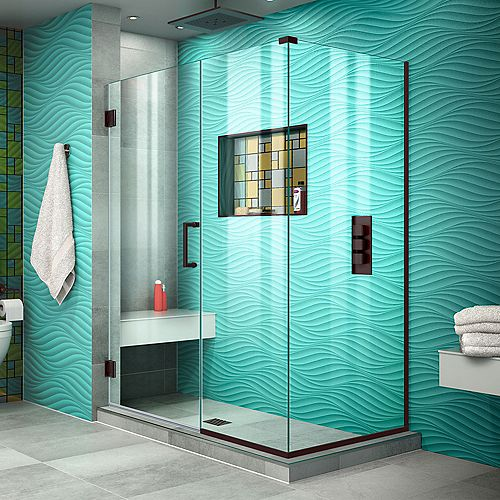 DreamLine Unidoor Plus 34-3/8x 51-1/2x 72Semi-Frameless Hinged Shower Door Enclosure with Hardware in Oil Rubbed Bronze