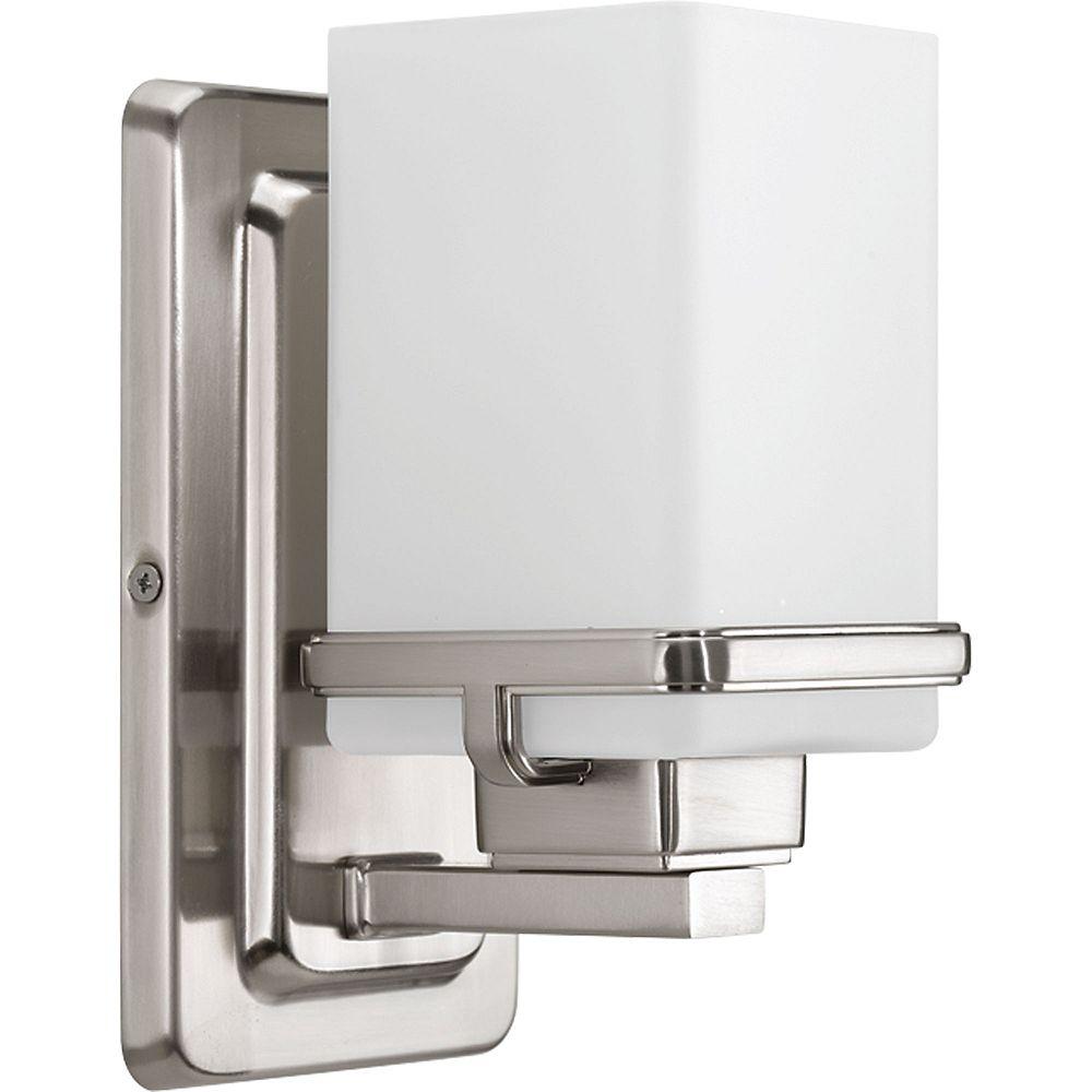 Progress Lighting Collection Metric  Luminaire pour meuble-lavabo à ampoule unique, nickel brossé
